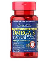 Омега Puritan's Pride Omega-3 Fish Oil 1290 Mini Gels 60гелкапс