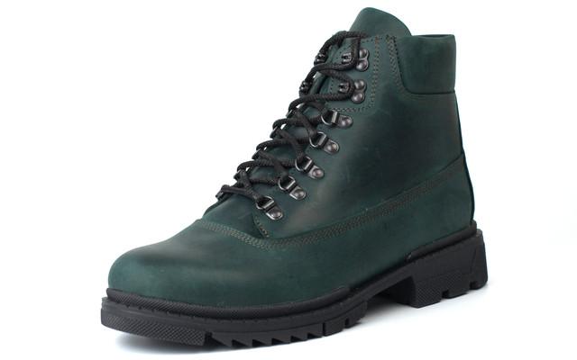 Зеленые ботинки мужские зимние кожаные обувь больших размеров Rosso Avangard Taiga Ultimate Green Leather BS