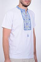 Нарядная футболка вышиванка с синим орнаментом воротник стойка