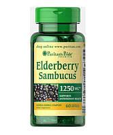 Бузина, Квіти Sambucus, Puritan's Pride, 1250 мг, 60 капсул