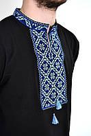 Модная мужская футболка вышиванка с длинным рукавом с синим орнаментом