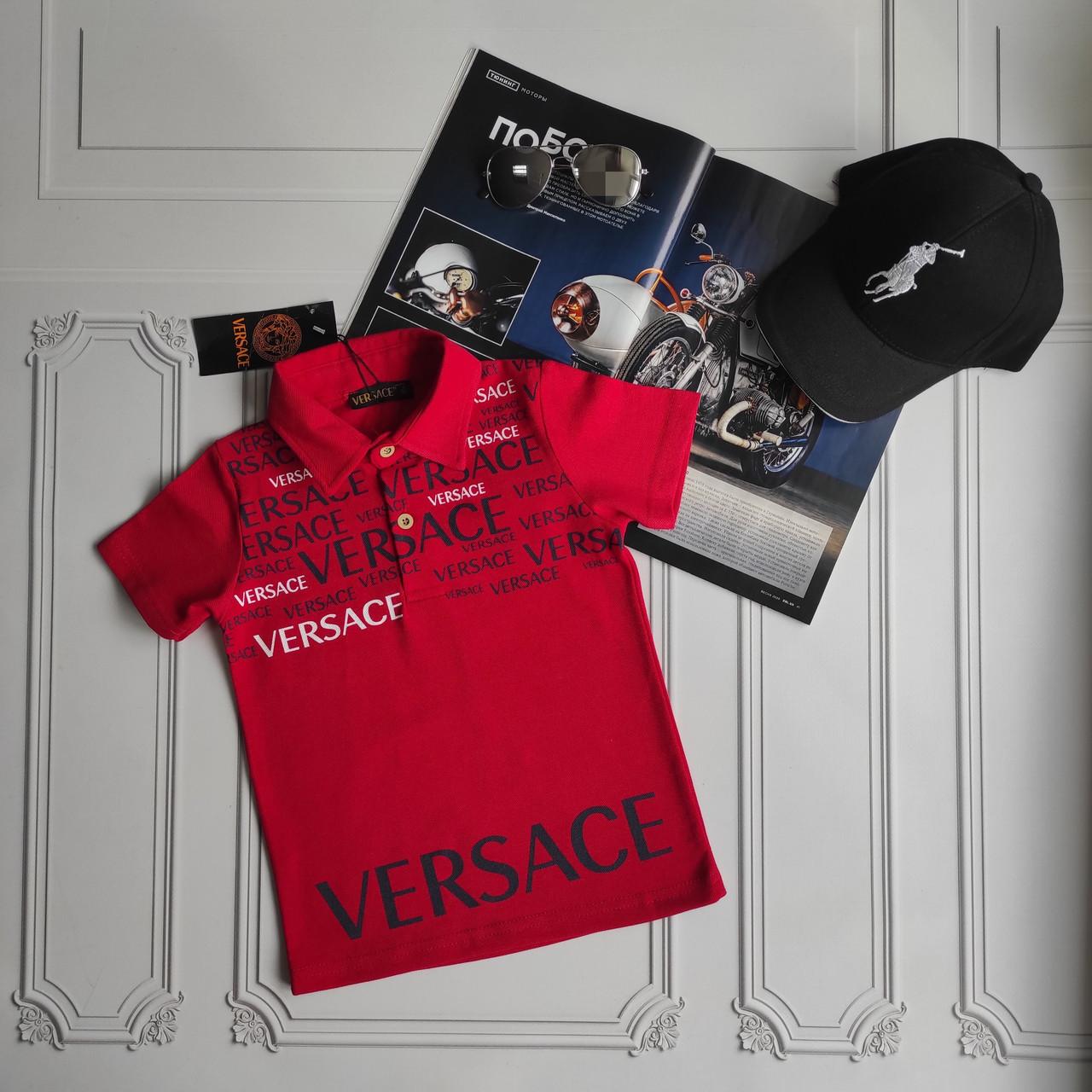 Красная детская футболка поло Versace