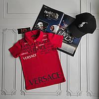 Красная детская футболка поло Versace, фото 1