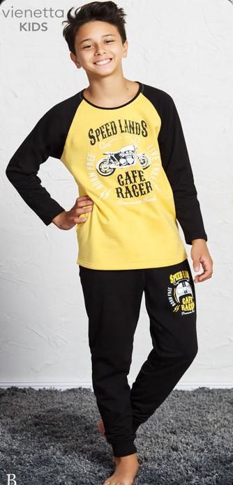 Байковая пижама с принтом мотоцикла для мальчиков на 9-16 лет