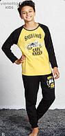 Байковая пижама с принтом мотоцикладля мальчиков на 9-16 лет