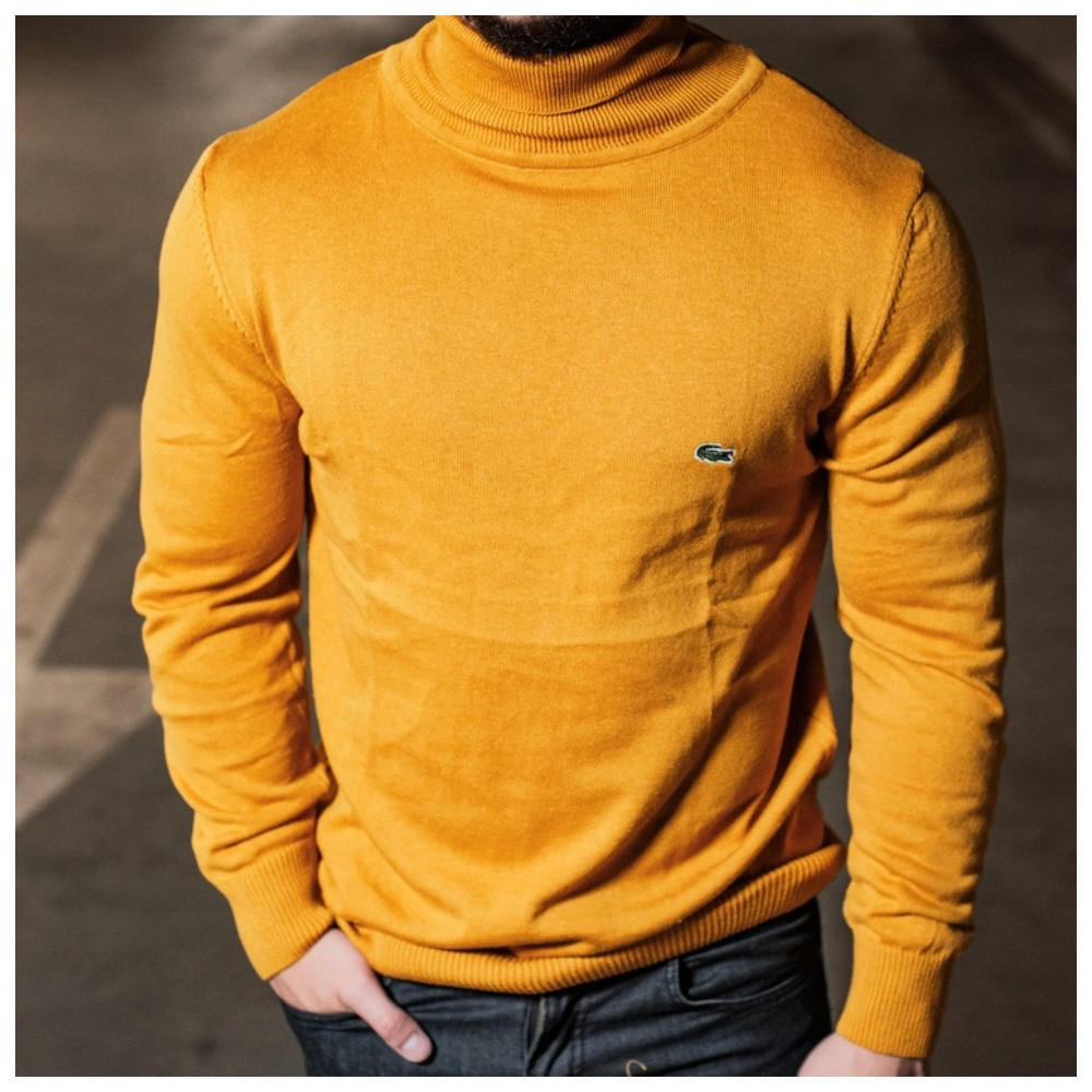 Желтый мужской гольф Lacoste, мужской свитер лакост желтого цвета, мужская водолазка лакоста (100% хлопок)