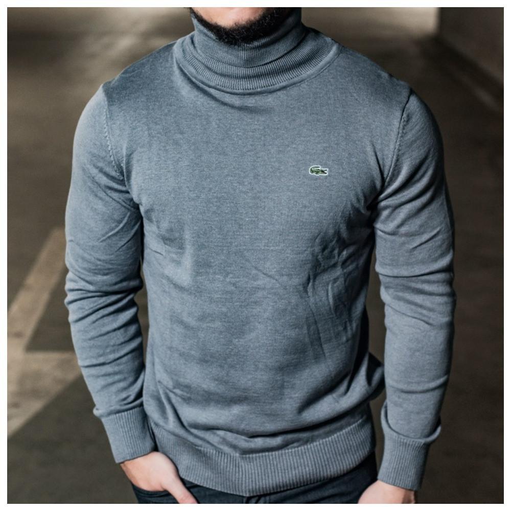 Серый мужской гольф Lacoste, мужской свитер лакост серого цвета, мужская водолазка лакоста (100% хлопок)