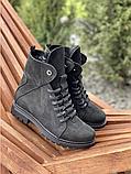 Стильные женские зимние замшевые ботинки черные-матовые Vikont, фото 3