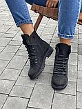 Стильные женские зимние замшевые ботинки черные-матовые Vikont, фото 4