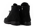 Стильные женские зимние замшевые ботинки черные-матовые Vikont, фото 5