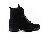 Стильные женские зимние замшевые ботинки черные-матовые Vikont, фото 6