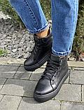 Женские ботинки кожаные зимние белые Yuves, фото 8