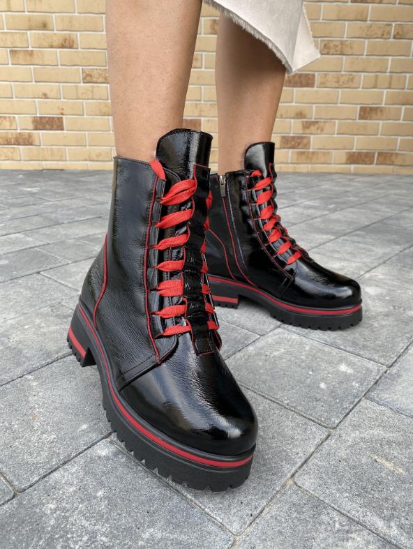 Ботинки женские черные-красные кожаные Topas Casual