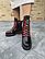 Ботинки женские черные-красные кожаные Topas Casual, фото 2