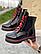 Ботинки женские черные-красные кожаные Topas Casual, фото 3