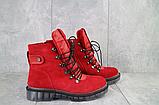 Женские ботинки замшевые зимние красные Mkrafvt, фото 3