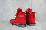 Женские ботинки замшевые зимние красные Mkrafvt, фото 5