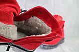 Женские ботинки замшевые зимние красные Mkrafvt, фото 6