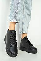Жіночі черевики шкіряні зимові чорні Yuves