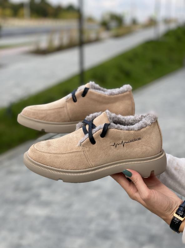 Женские ботинки замшевые зимние коричневые Polin