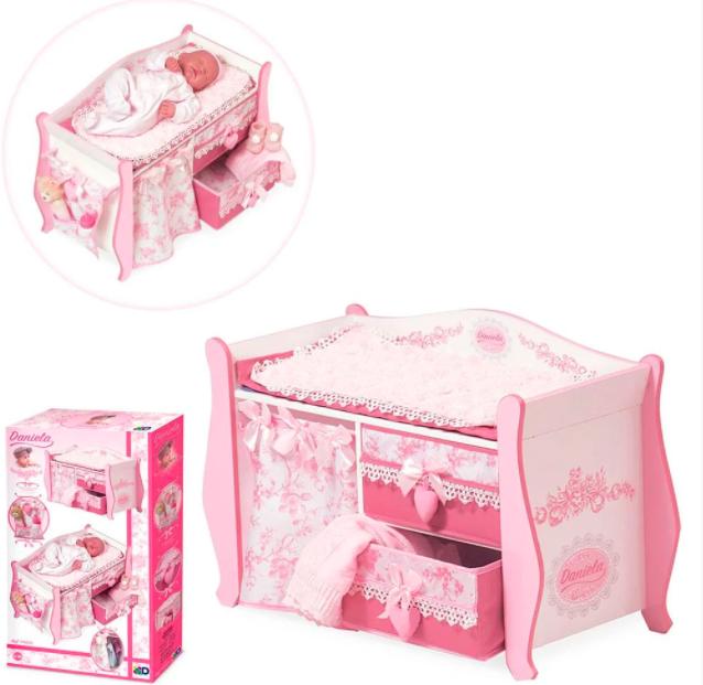 Кровать - комод деревянная для куклы (Baby Born) TM DeCuevas + постелька