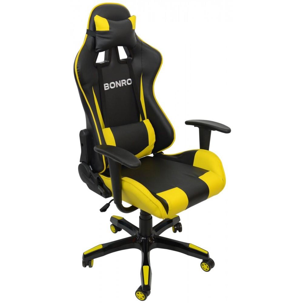 Кресло геймерское Bonro 2018 желтое