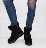 Женские зимние замшевые ботинки на шнурках и молнии, фото 3