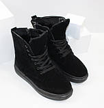 Женские зимние замшевые ботинки на шнурках и молнии, фото 4