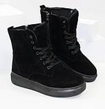 Женские зимние замшевые ботинки на шнурках и молнии, фото 5
