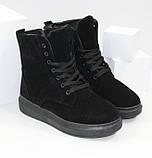 Женские зимние замшевые ботинки на шнурках и молнии, фото 6