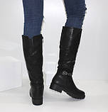 Женские зимние сапоги на низком каблуке, фото 3