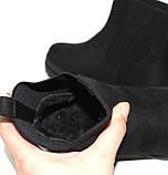 Женские зимние замшевые ботинки на толстой подошве на резинках, фото 10
