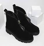 Демисезонные женские ботинки черные из натуральной замши на молнии на фасаде, фото 2