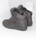 Демисезонные женские замшевые ботинки серого цвета, фото 5