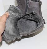 Демисезонные женские замшевые ботинки серого цвета, фото 7