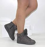 Демисезонные женские замшевые ботинки серого цвета, фото 8