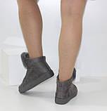 Демисезонные женские замшевые ботинки серого цвета, фото 10