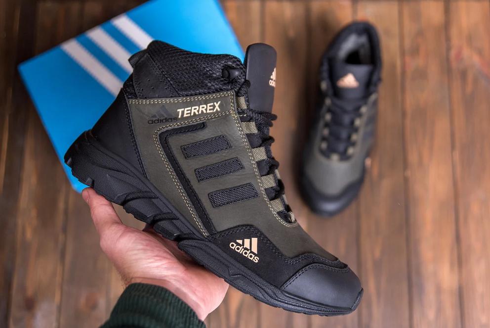 Ботинки зимние мужские кожаные  Adidas TERREX Green (реплика)