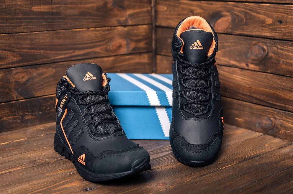 Ботинки зимние мужские кожаные  Adidas TERREX Black Orang (реплика)