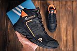 Ботинки зимние мужские кожаные  Adidas TERREX Black Orang (реплика), фото 2