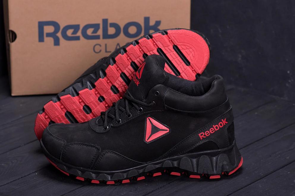 Ботинки спортивные зимние мужские кожаные Reebok Crossfit красные (реплика)