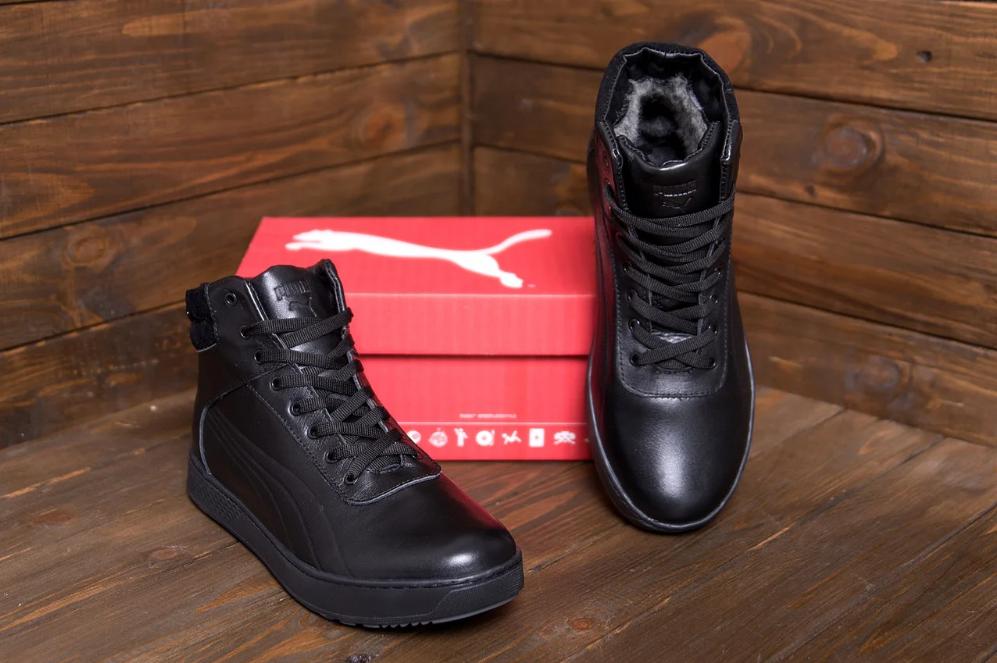 Кроссовки зимние мужские кожаные Puma SUEDE Black leather