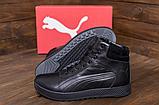 Кроссовки зимние мужские кожаные Puma SUEDE Black leather, фото 2