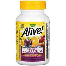 "Мультивітаміни для жінок 50+ nature's Way, Alive! ""Women's 50+"" Once Daily, высокоусвояемые (60 таблеток)"