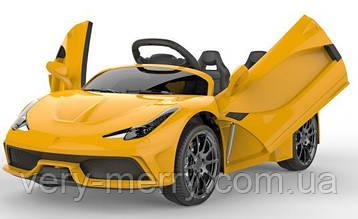 Детский электромобиль Lamborghini (желтый цвет) с пультом радиоуправления Bluetooth 2.4G
