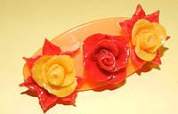Заколка-автомат розы. Холодный фарфор