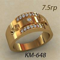 Мужское золотое кольцо 585 пробы с Фианитами