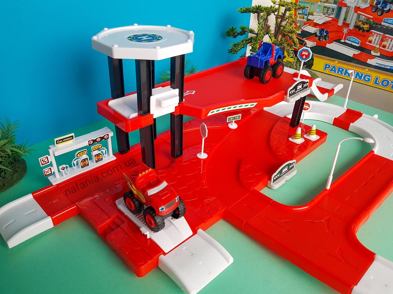 Игровой Гараж с заправкой для машинок Вспыш двухэтажный с двумя машинками