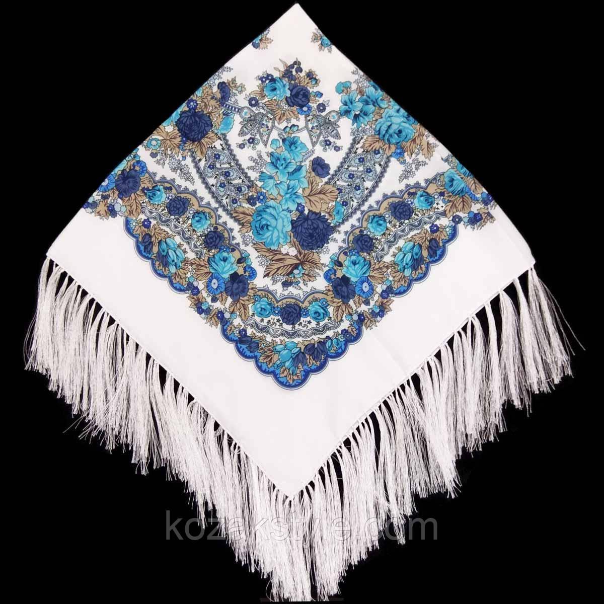 Хустка народна з бахромою (80х80) біла