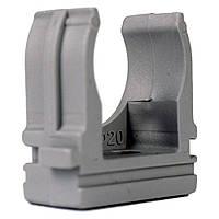 Крепеж для гофротрубы Ø 20 мм, Ø отв. 6 мм, цвет серый 100 шт.